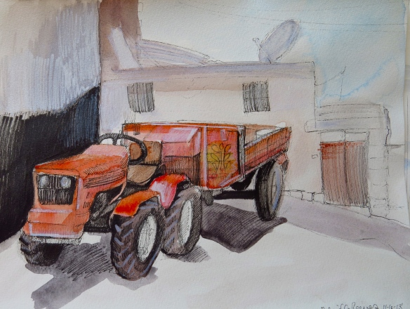 """Tractor"" Mixed Media on Paper, 2013"